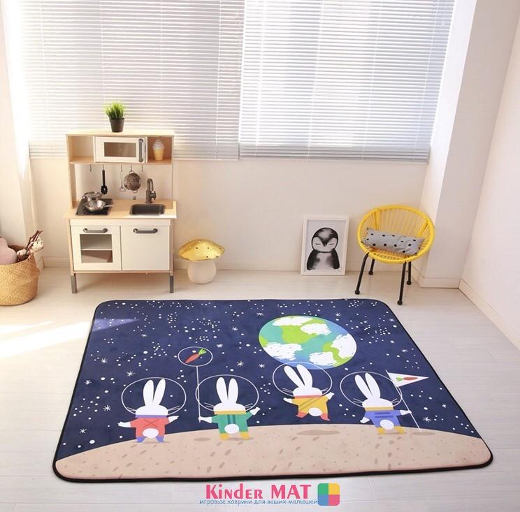 Плюшевый коврик-мат «Космические зайцы» Размер 200×150 см