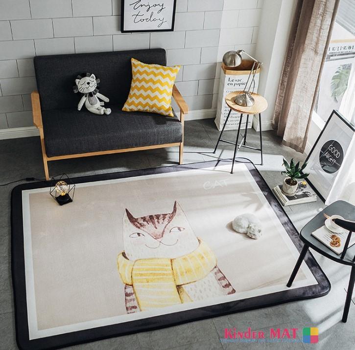 Плюшевый коврик «Кот в шарфе» Размер 195×145 см