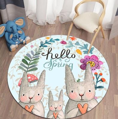 Плюшевый коврик круглый  «Hello,spring» Диаметр 160 см