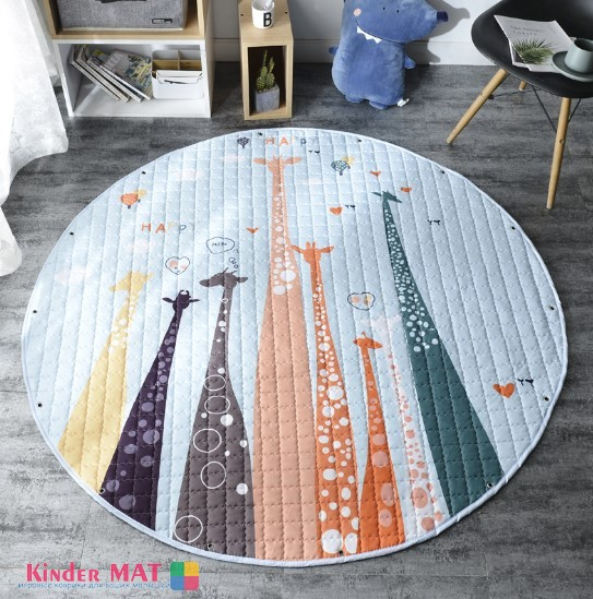 Стеганый коврик-мешок «Жирафики» Диаметр 150 см