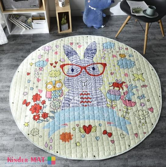 Стеганый коврик-мешок «Заяц в очках»  диаметр 150 см