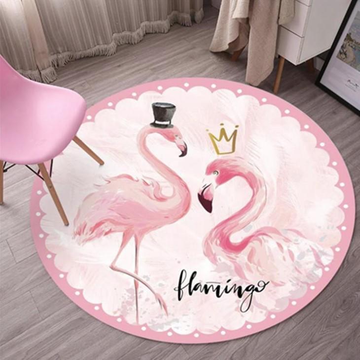 Плюшевый коврик круглый «Розовый фламинго» Диаметр 160 см