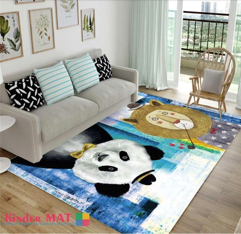 Плюшевый коврик «Лев и панда» Размер 200×140 см