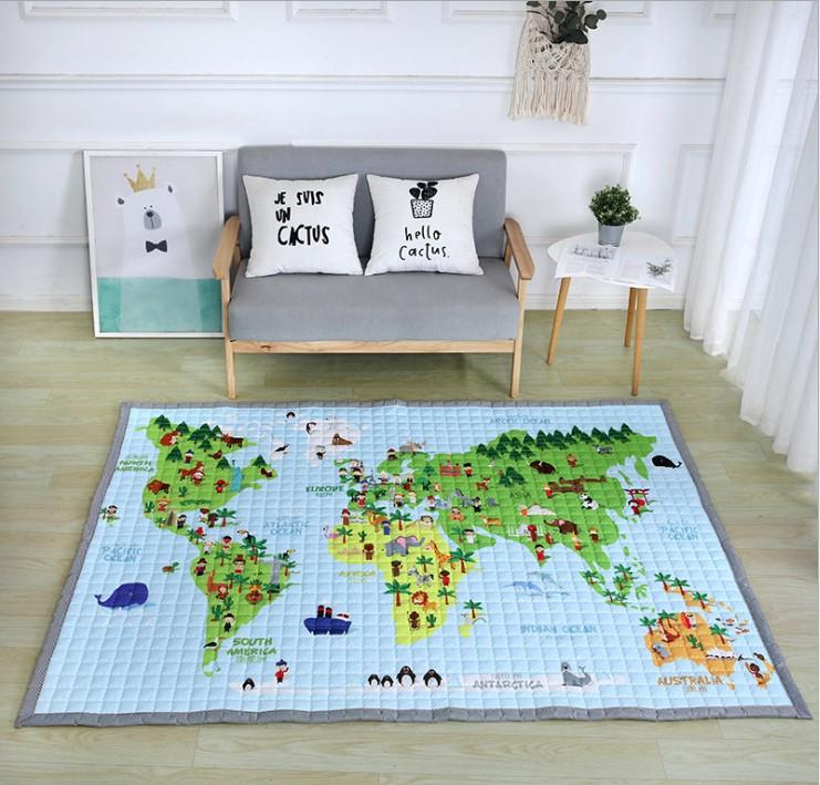 Стёганый коврик «карта мира» размер 200×145 см