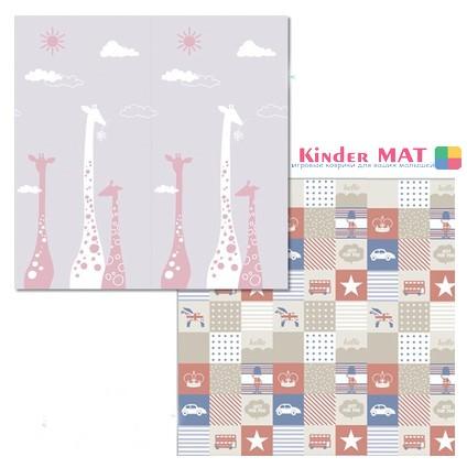Складной коврик «жираф и клетки». Размер 200x180x1 см