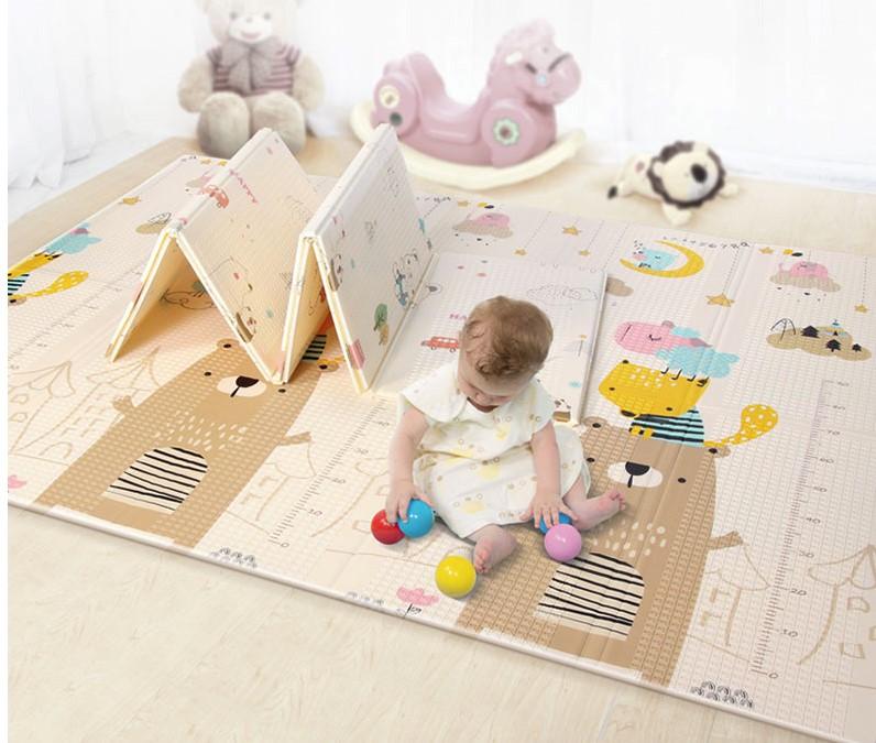 Складной коврик XPE «Мишка и мышка» — размер 200*180*1 см.