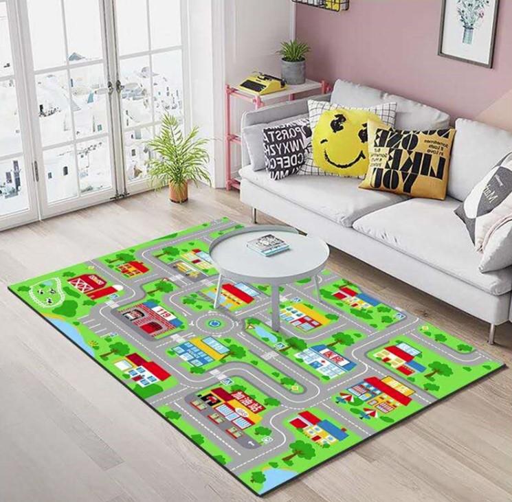 Плюшевый коврик без наполнителя «городская дорога» Размер 200x140x0,6 cm