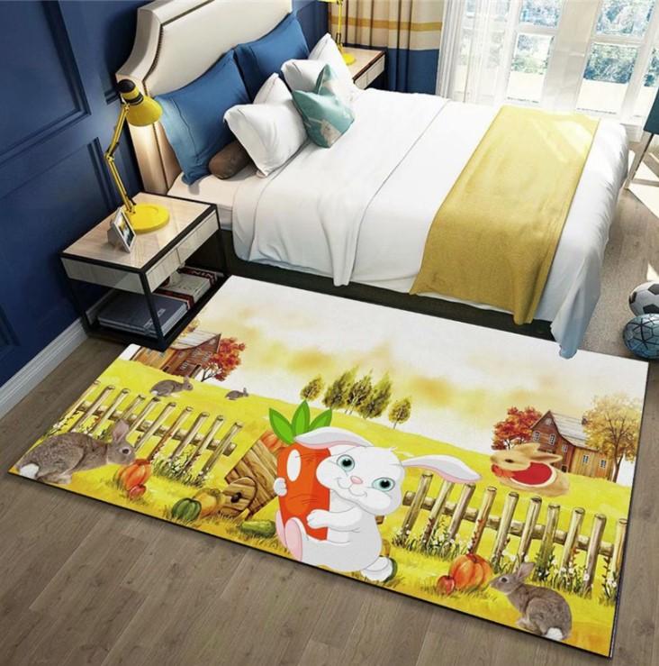 Плюшевый коврик без наполнителя «Зайка с морковкой» Размер 200x140x0.6 см