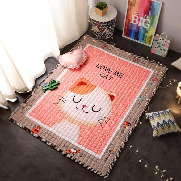 Стеганый коврик «love me cat» Размер 195×145 см