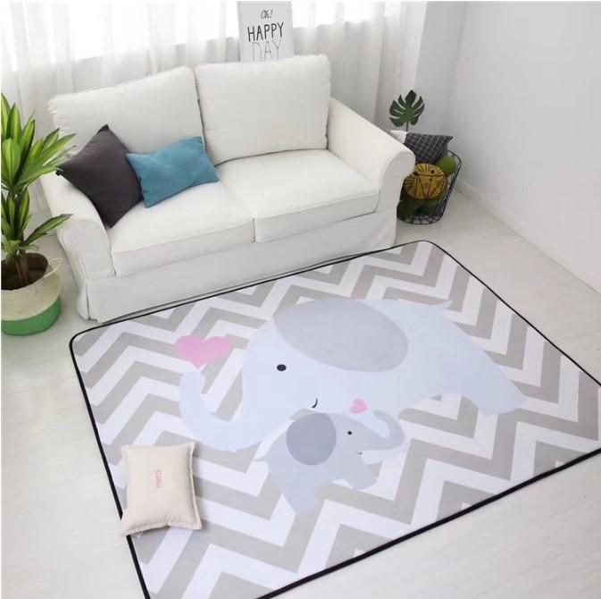 Плюшевый коврик-мат «Серые слоны» Размер 200×150х1,5 см