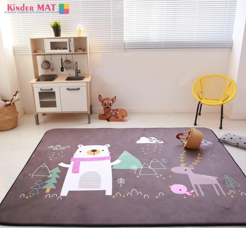 Плюшевый коврик-мат » Медведь и олень». Размер 200x150x1,5 см