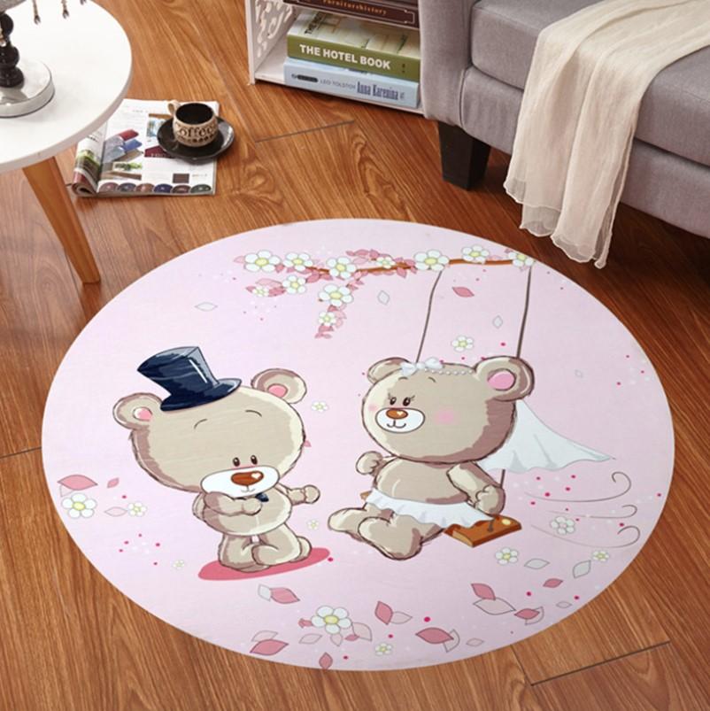 Плюшевый круглый коврик без наполнителя «Мишки» Диаметр 160 см