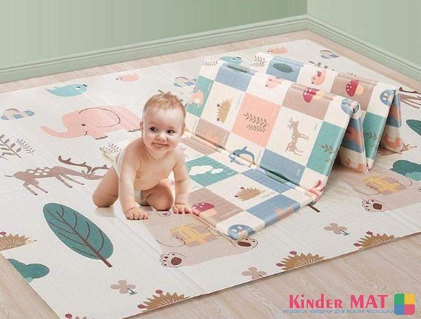 Складной коврик XPE «Слоны и медведи» — размер 180*160*1 см.
