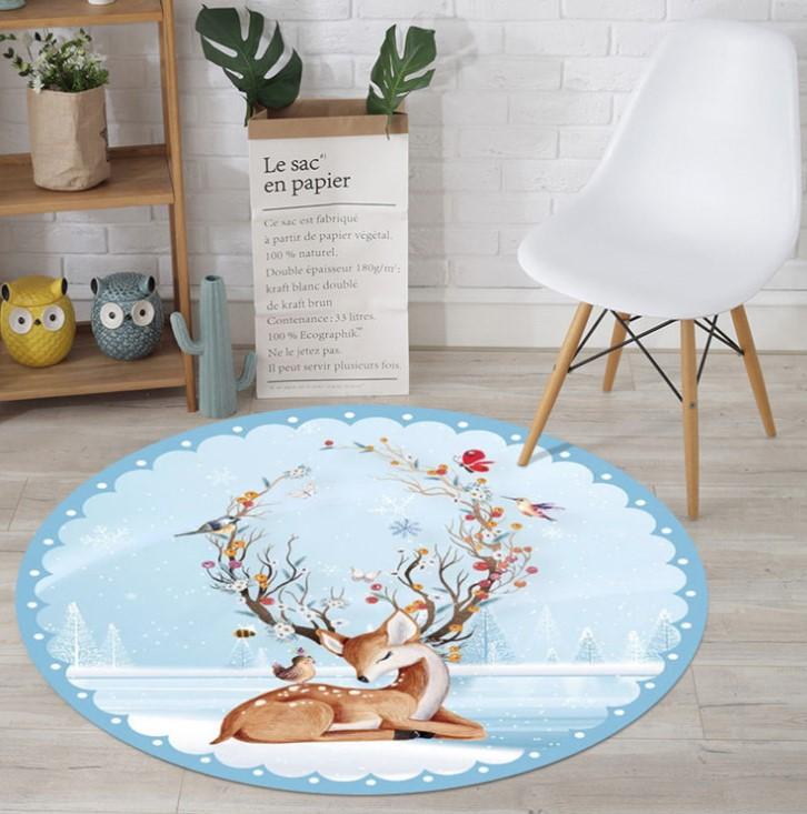 Плюшевый коврик круглый без наполнителя «Олененок» Диаметр 160 см