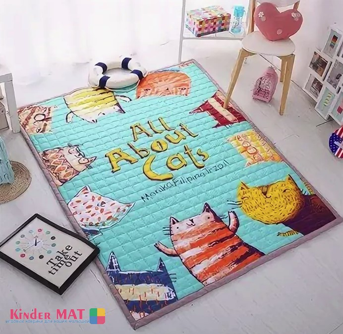 Стёганый коврик «All About cats». Размер 200×150 см