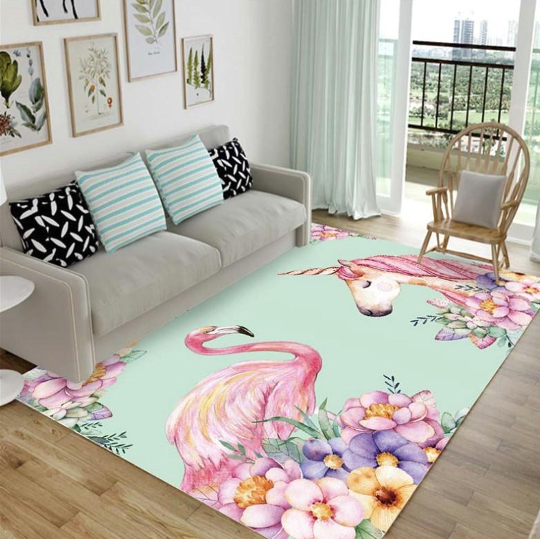Плюшевый коврик без наполнителя «Единорог и фламинго» (бирюза). Размер 200x140x0,5 см.