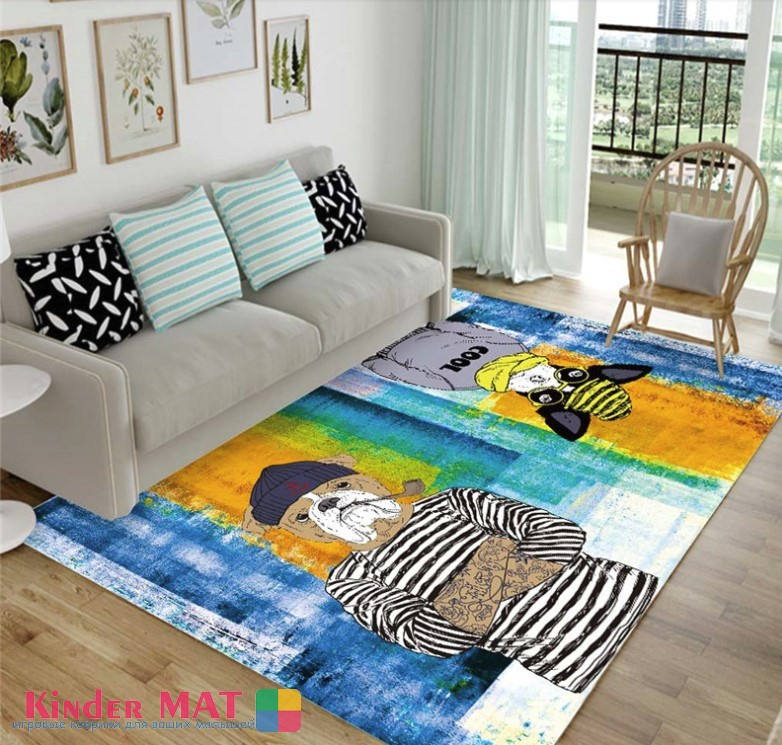 Плюшевый коврик «Псы-пираты» Размер 200×140 см