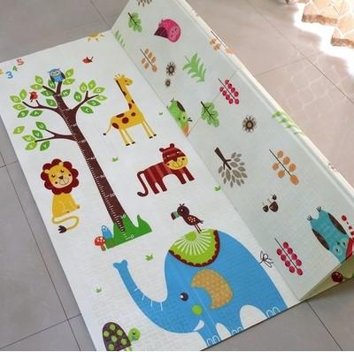 Складной коврик «Голубые слоны и совушки» — размер 200*180*1 см.