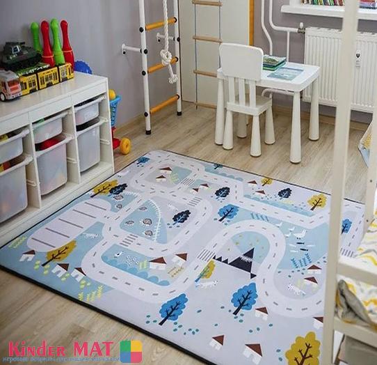 Плюшевый коврик-мат «Дорога» (голубая) Размер 200×150х1,5 см.