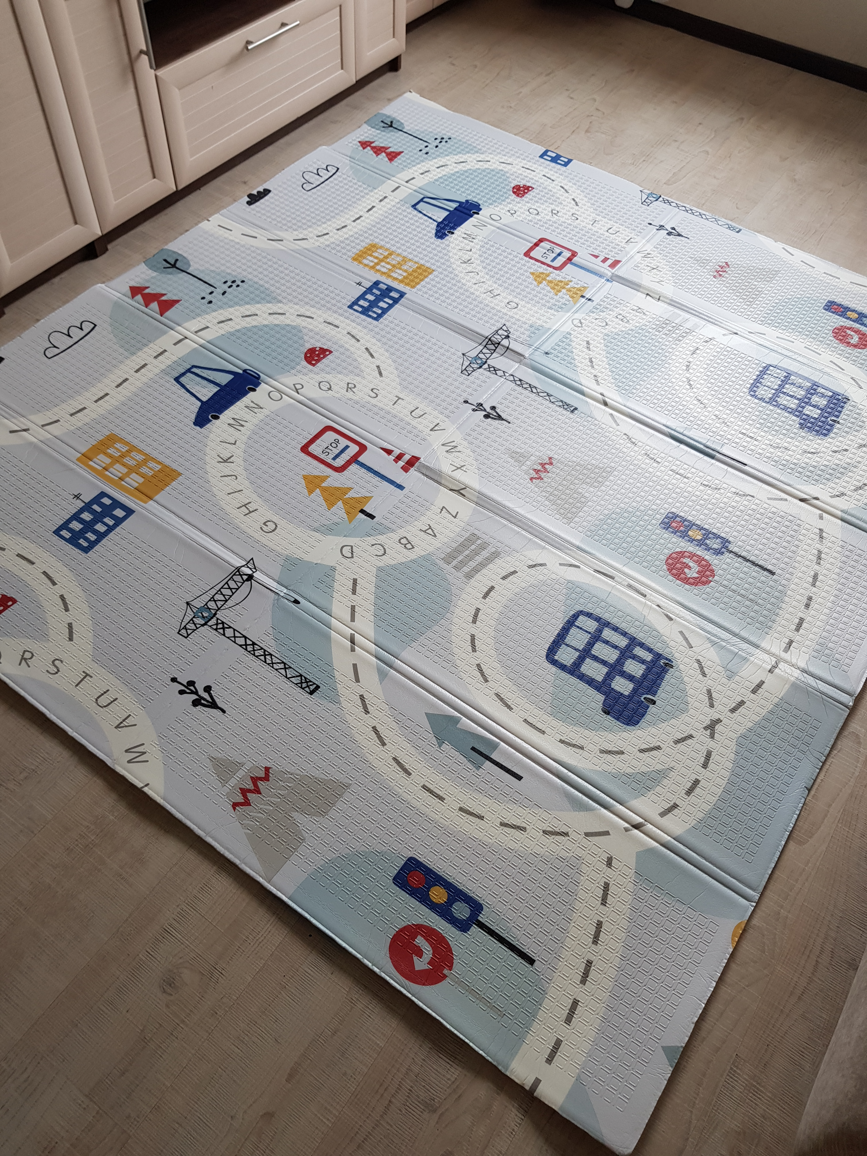 Складной коврик XPE «Транспорт и рыбки» Размер 200x180x1 см