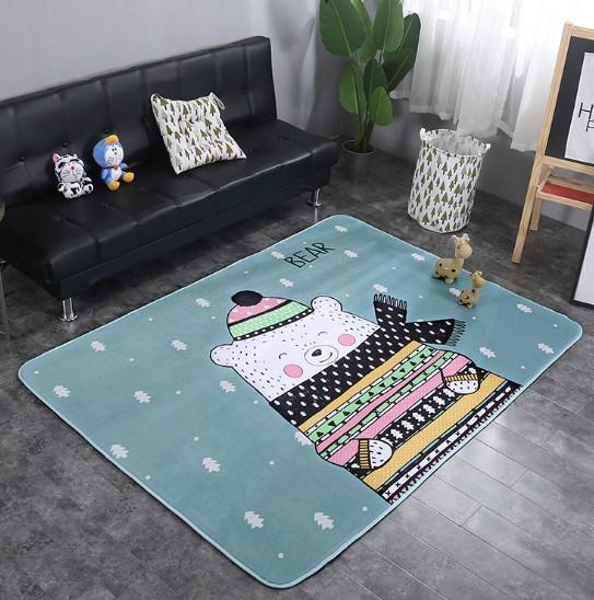 Плюшевый коврик с поролоновым наполнителем «Мишка зимой» Размер 200×150х1 см.