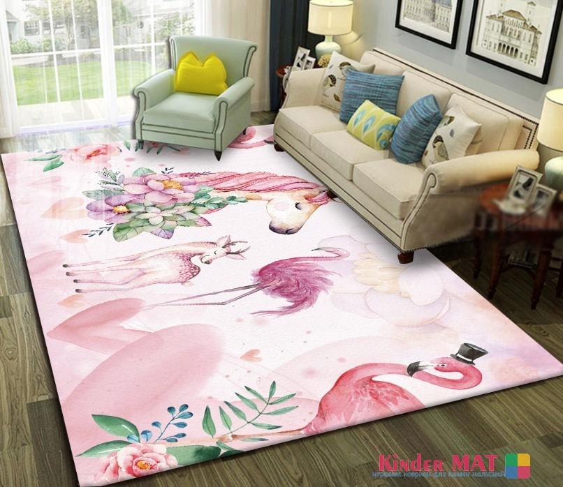 Плюшевый коврик без наполнителя «Единорог и фламинго» (розовый). Размер 200x140x0,5 см.