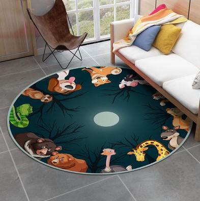 Плюшевый коврик круглый «Лунные звери» диаметр 160 см