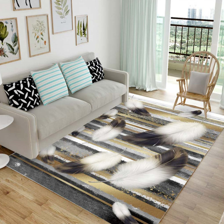 Плюшевый коврик без наполнителя «Перья в серых тонах» Размер 200-140 см