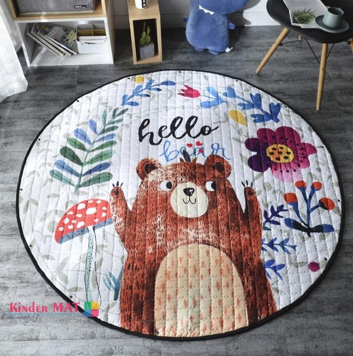 Стеганый коврик-мешок «Медведь» диаметр 150 см