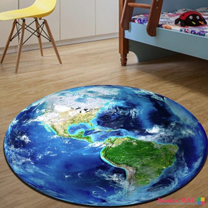 Плюшевый коврик круглый без наполнителя «Планета земля» Диаметр 160 см