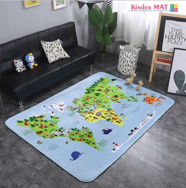 Плюшевый коврик с поролоновым наполнителем «Карта мира»  — размер 200×150х1 см.