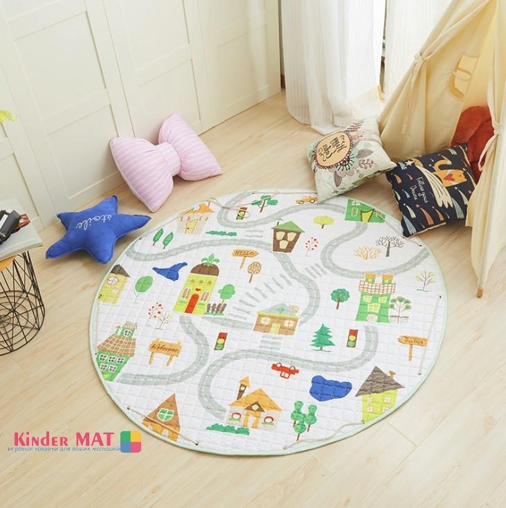 Стеганый коврик-мешок «Дороги» диаметр 150 см