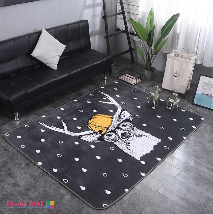 Плюшевый коврик с поролоновым наполнителем «Олень в кепке» Размер 200×150х1 см