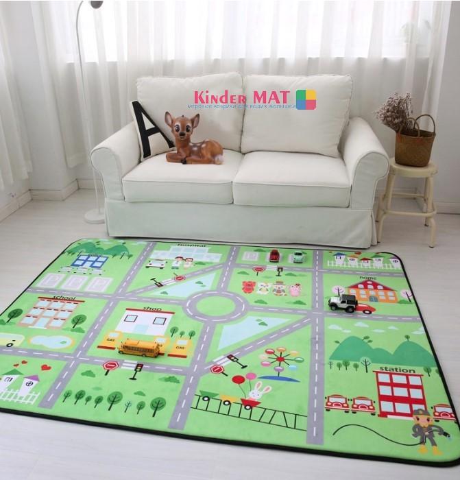 Плюшевый коврик-мат «Зеленая дорога» Размер 200×150 см