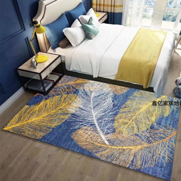 Плюшевый коврик без наполнителя «Золотые перья на синем» Размер 200×140 см