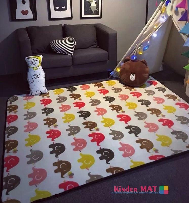 Плюшевый коврик «слоники». Размер 195×145 cm