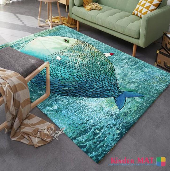 Плюшевый коврик без наполнителя «Рыба» — размер 200×140х0,5 см.