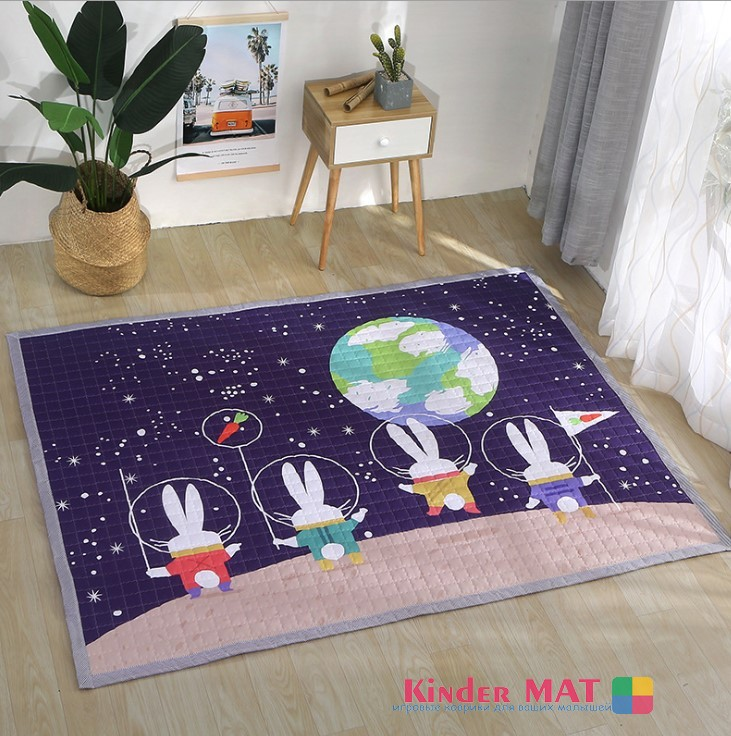 Стёганый коврик «Космические зайцы» Размер 195×145 см