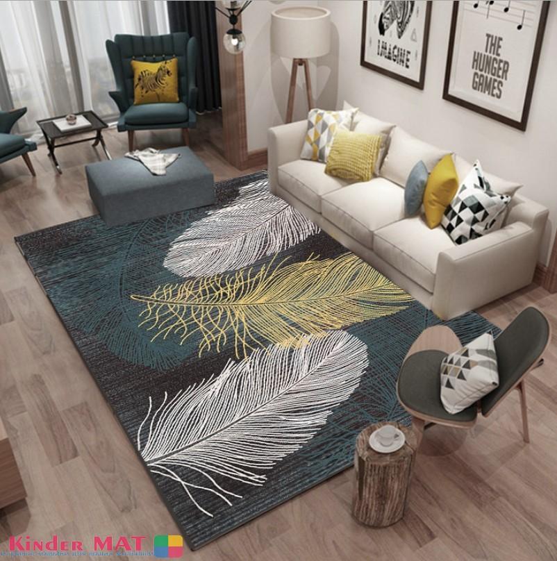 Плюшевый коврик без наполнителя «Перья» Размер 200x140x0,5 см