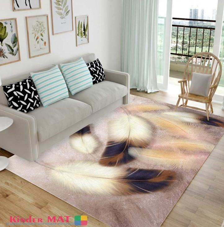 Плюшевый коврик без наполнителя «Перья» (розовый). Размер 200x140x0,5 см