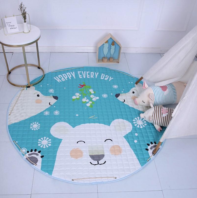 Стеганый коврик-мешок «белые медведи» Диаметр 150 см