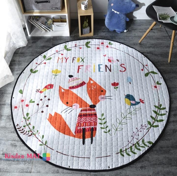 Стеганый коврик-мешок «Друзья лисички» диаметр 150 см