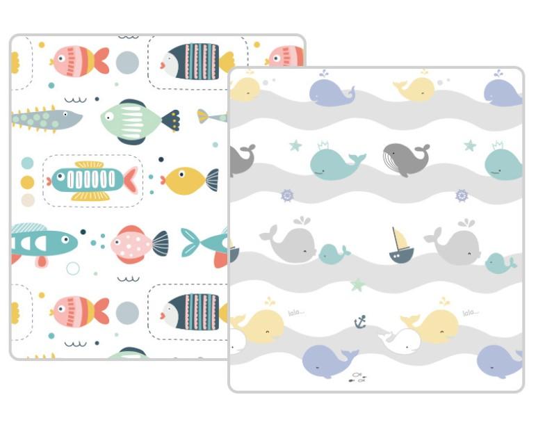 Рулонный коврик из XPE «Рыбки и киты» Размер 200x180x1 см