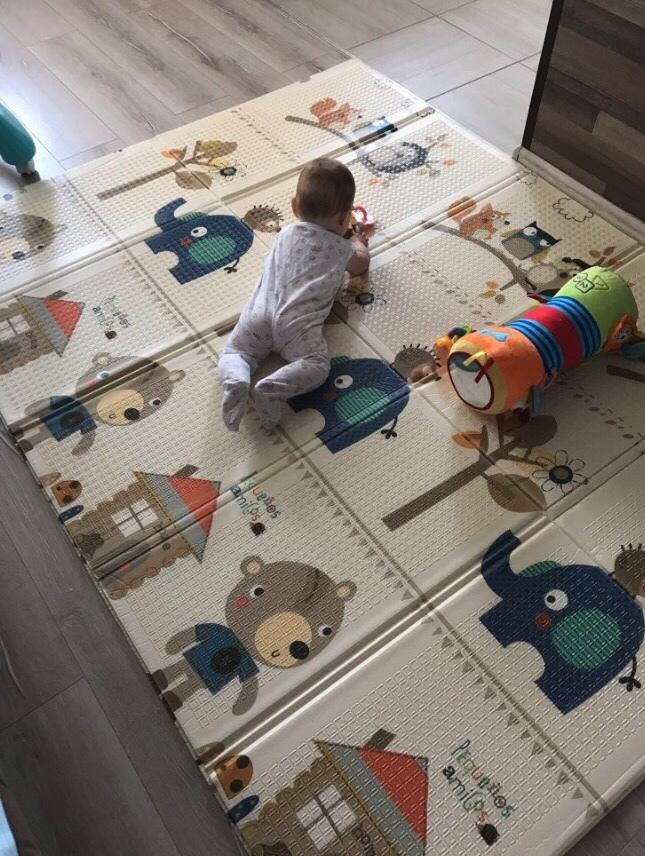 Утолщённый складной коврик  XPE «Синий слон» Размер 200x180x1.5 см