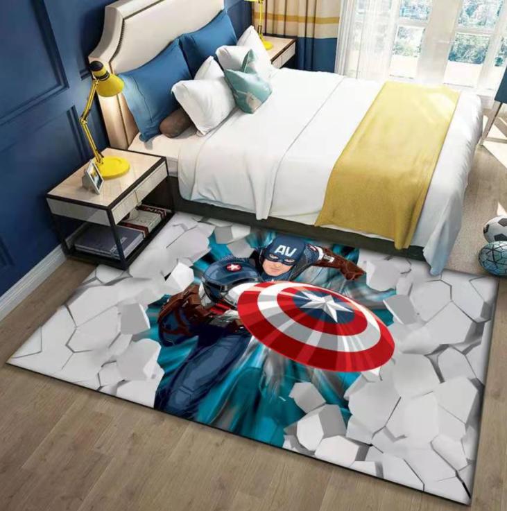 Плюшевый коврик без наполнителя «Капитан Америка» Размер 200x140x0,6 см