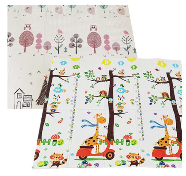 Складной коврик из XPE » Жирафы и лес» размер 200x150x1 см