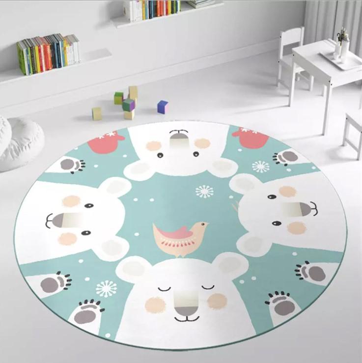Плюшевый коврик круглый «белые медведи» Диаметр 160 см