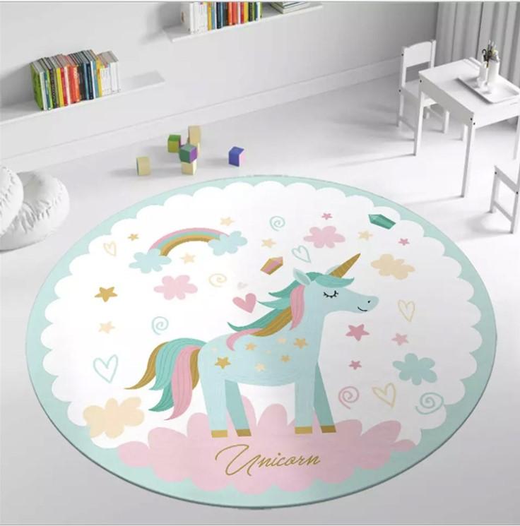 Плюшевый коврик круглый » Единорог и радуга» Диаметр 160 см