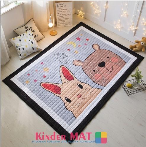 Стёганый коврик «Медведь и заяц» — размер 195×145
