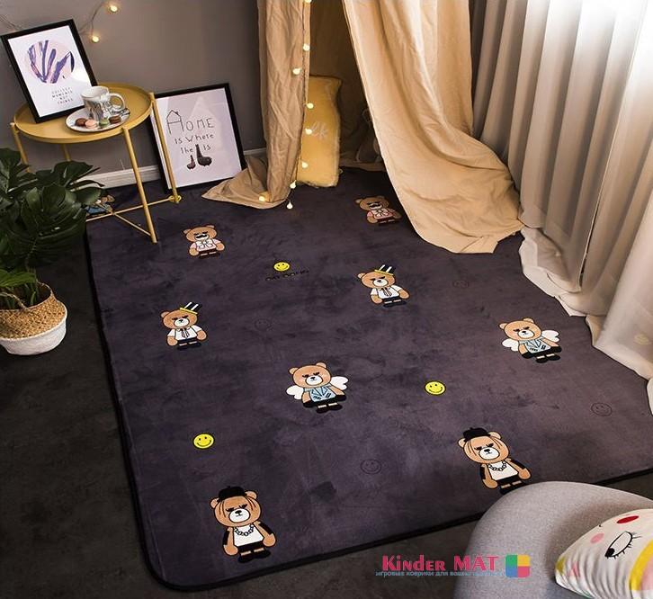 Плюшевый коврик с поролоновым наполнителем «Мишки-гангстеры» Размер 200×150х1 см